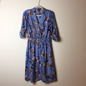 Who What Wear Brown Floral Blue Stripe Dress